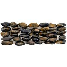 "Brook Stone 12"" x 4"" Stone Mosaic Wall Tile inTiger Eye Horizon"