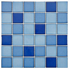 "Pool 12-1/4"" x 12-1/4"" Porcelain Mosaic in Marine"