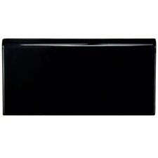 "Hexitile 8"" x 4"" Bullnose Tile Trim in Glossy Black"