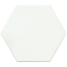 "Hexitile 8"" x 7"" Porcelain Glazed Tile in Matte White"