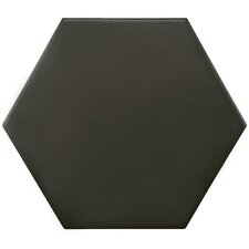 "Hexitile 8"" x 7"" Porcelain Glazed Tile in Matte Black"