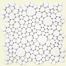 "Boulder 11"" x 11"" Glazed Porcelain Mosaic in White"