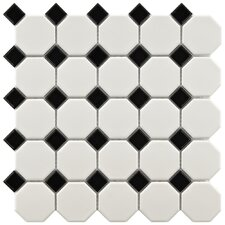 "Retro 11-1/2"" x 11-1/2"" Glazed Porcelain Octagon Mosaic in Matte White with Glossy Black Dot"