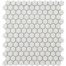 Retro Glazed Porcelain Hexagon Mosaic in White (Set of 10)