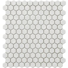 "Retro 12"" x 10-7/8"" Glazed Porcelain Hexagon Mosaic in White"