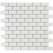 "Retro 1-7/8"" x 7/8"" Glazed Porcelain Subway Mosaic in White"