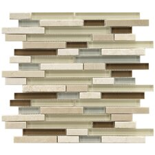 "<strong>EliteTile</strong> Sierra 11-3/4"" x 11-3/4"" Polished Glass and Stone Piano Mosaic in York"