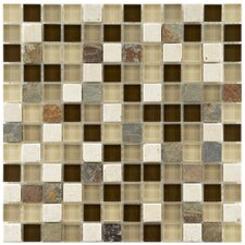 """Sierra 7/8"""" x 7/8"""" Polished Glass and Stone Square Mosaic in Nassau"""