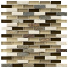 "Sierra 1-7/8"" x 1/2"" Polished Glass and Stone Subway Mosaic in Nassau"