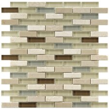 "<strong>EliteTile</strong> Sierra 12"" x 11-3/4"" Polished Glass and Stone Subway Mosaic in York"