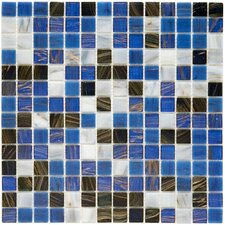 "<strong>EliteTile</strong> Fused Glass 12"" x 12"" Polished Glass Mosaic in Marine"