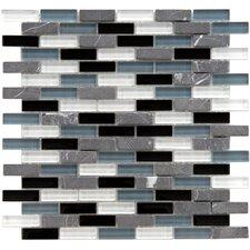 "Sierra 1-7/8"" x 1/2"" Polished Glass and Stone Subway Mosaic in Tuxedo"