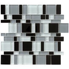 "<strong>EliteTile</strong> Sierra 11-3/4"" x 11-3/4"" Polished Glass Mosaic in Magic Night"