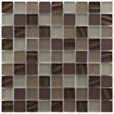 "Neptunian 11-3/4"" x 11-3/4"" Polished Glass Mosaic in Nautilis"