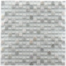 "Sierra 11-3/4"" x 11-3/4"" Polished Glass and Stone Mini Mosaic in Ming"