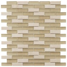 "<strong>EliteTile</strong> Sierra 11-3/4"" x 11-3/4"" Polished Glass and Stone Subway Mosaic in Sandstone"