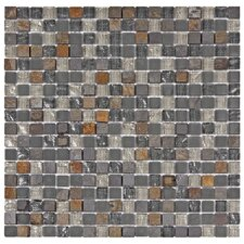 "Sierra 11-3/4"" x 11-3/4"" Polished Glass and Stone Mini Mosaic in Wisp"