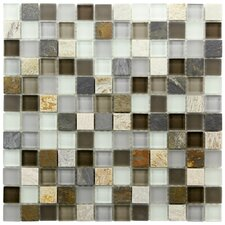 "Sierra 7/8"" x 7/8"" Polished Glass and Stone Square Mosaic in Tundra"