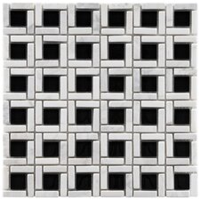 "Sierra 11-3/4"" x 11-3/4"" Polished Glass and Stone Cubic Mosaic in Classic"