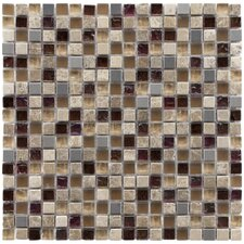 "Sierra 11-3/4"" x 11-3/4"" Polished Glass, Stone and Metal Mini Mosaic in Aurora"