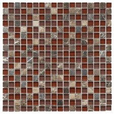 "Sierra 11-3/4"" x 11-3/4"" Polished Glass and Stone Mini Mosaic in Bordeaux"