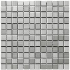 "Vulcan 11-3/4"" x 11-3/4"" Polished Stainless Steel Over Porcelain Mosaic in Stainless Steel"