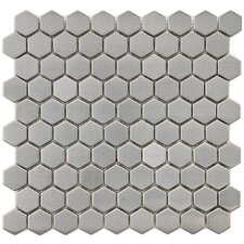 "Metallic 11-1/4"" x 11-1/4"" Polished Stainless Steel Over Ceramic Hex Mosaic in Silver"