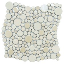 Posh Bubble Random Sized Porcelain Mosaic Wall Tile in Almond
