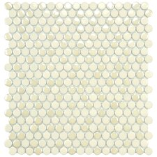 "<strong>EliteTile</strong> Posh 11-1/4"" x 12"" Penny Round Porcelain Mosaic Wall Tile in Almond"