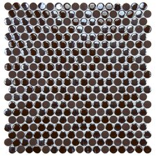 "Posh 5/8"" x 5/8"" Penny Round Porcelain Mosaic Wall Tile in Brown"