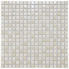 "Posh 11-3/4"" x 11-3/4"" Pixie Porcelain Mosaic Wall Tile in Almond"