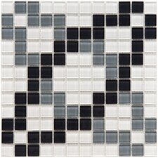 "Ambit 11-3/4"" x 11-3/4"" Polished Floral Monochrome Glass Mosaic Wall Tile in Multi"