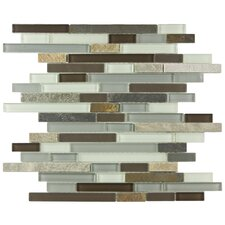 "Sierra 12"" x 11-3/4"" Polished Piano Glass and Stone Wall  Mosaic in Tundra"