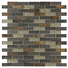 """Sierra 1-7/8"""" x 1/2"""" Polished Subway Glass and Stone Wall  Mosaic in Wisp"""