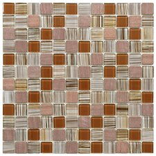 "Chroma 11-1/2"" x 11-1/2"" Square Glass and Stone Mosaic Wall Tile in Cocoa"