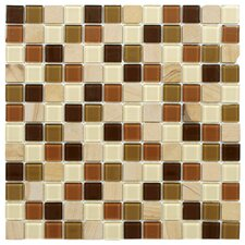 "<strong>EliteTile</strong> Chroma 11-1/2"" x 11-1/2"" Square Glass and Stone Mosaic Wall Tile in Kalamata"