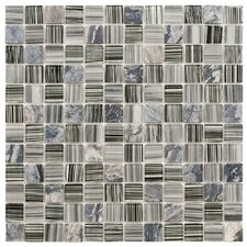 """Chroma 7/8"""" x 7/8"""" Square Glass and Stone Mosaic Wall Tile in Licorice"""