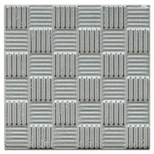 "Mercury Metal 4"" x 4"" Glazed Napkin Porcelain Wall Tile in Silver"