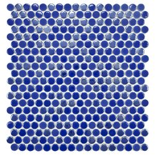 "Posh 11-3/4"" x 12"" Penny Round Porcelain Mosaic Wall Tile in Blueberry"