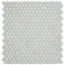 "Posh 11-3/4"" x 12"" Penny Round Porcelain Mosaic Wall Tile in Mint"