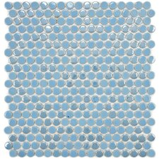 """Posh 5/8"""" x 5/8"""" Penny Round Porcelain Mosaic Wall Tile in Sky"""