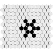 "Retro 10-1/4"" x 11-3/4"" Glazed Porcelain Hex Mosaic in Glossy White with Snowflake"