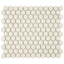 "Retro 10-1/4"" x 11-3/4"" Glazed Porcelain Hex Mosaic in Matte Biscuit"