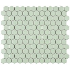 "Retro 7/8"" x 7/8"" Glazed Porcelain Hex Mosaic in Matte Light Green"