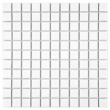 "Retro 11-3/4"" x 11-3/4"" Glazed Porcelain Square Mosaic in Matte White"