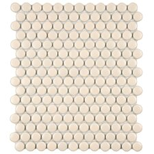 "Retro 11-1/2"" x 9-7/8"" Glazed Porcelain Penni Mosaic in Matte Biscuit"