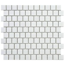 "Retro 11"" x 12"" Glazed Porcelain Mosaic in Matte White"