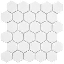 "Retro 10-1/2"" x 11"" Glazed Porcelain Mosaic in Matte White"