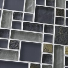 "Sierra 11-3/4"" x 11-3/4"" Polished Glass and Stone Mosaic in Versailles Wisp"