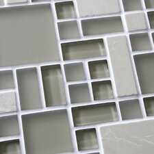 "Sierra 11-3/4"" x 11-3/4"" Polished Glass and Stone Mosaic in Versailles Sandstone"